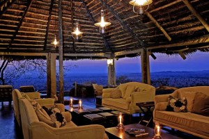 lounge interior at sunset mid light-Serengeti Pioneer Camp